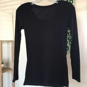 Tops - Basic Black Round Neck Long Sleeve